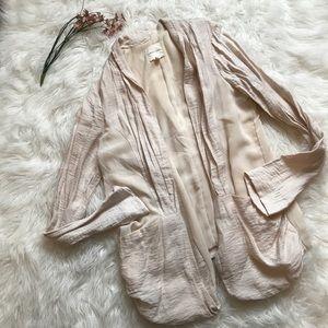 UO Silence + Noise Cream Open Cardigan Long Sleeve
